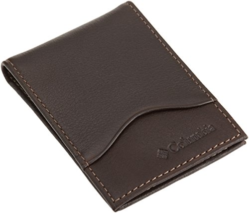 Columbia Men's Leather Slim Front Pocket Wallet with ID Window,Brown