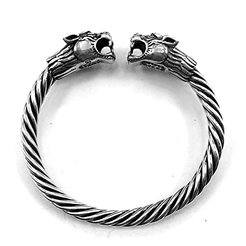 Massive 925 Sterling Silber 2 Tiger 6Mm Schraube Offen Manschette Armband Männer Wikinger Armreif Vintage Punk Rock Thai Silber Schmuck