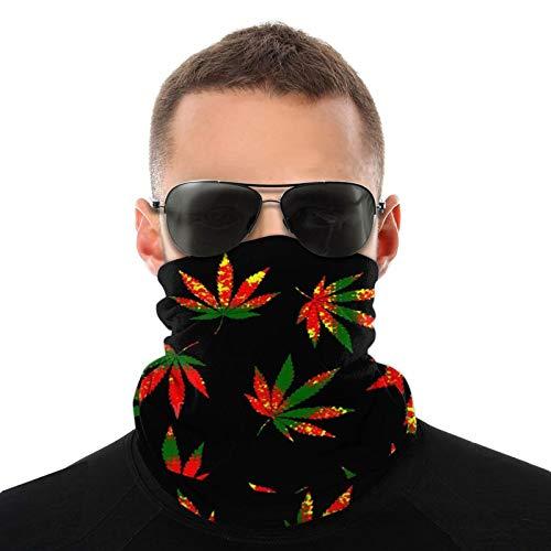 Bufanda de cuello calentador verde rojo amarillo marihuana hoja de marihuana resistente al viento invierno máscara facial tubo pasamontañas cubierta para hombres mujeres niño correr esquí ciclismo
