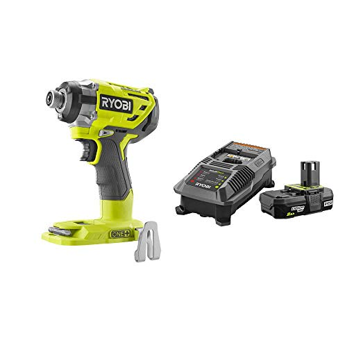 RYOBI P238-P163 18-Volt ONE+ Cordless Brushless 3-Speed 1/4 in. Hex Impact Driver with Belt Clip with 2.0 Ah Battery and Charger Kit