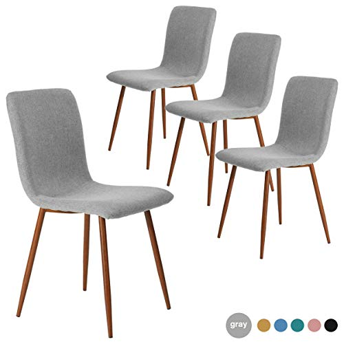 Dining Chairs Kitchen Chairs Set of 4 Modern Dining Room Side Chairs with Fabric Cushion Seat Back, Mid Century Living Room Chairs with Brown Metal Legs, Gray
