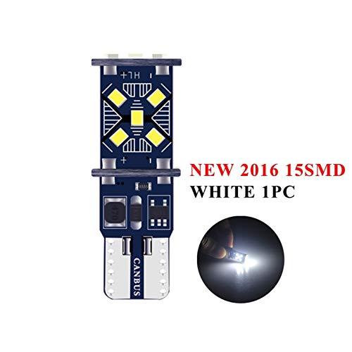 GSDGBDFE T10 W5W CANBUS Coche Luz Interior 194 501 26 4014 SMD Instrument Lights Bombilla Lámpara Luz de cúpula Sin Error 12V 6000K (Emitting Color : White T10 15SMD)