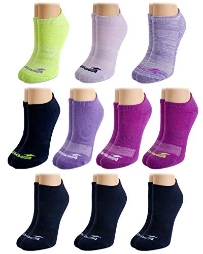 Avia Women's Athletic Performance Cushioned No Show Solid Socks (10 Pack), Size Shoe Size: 4-10, Purple