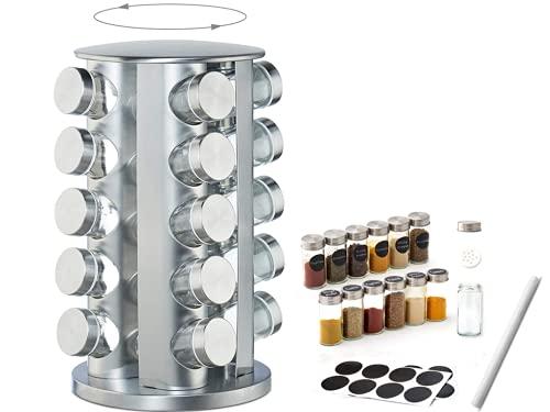 Especiero Giratorio 360°,Soporte para Especias de 430 Acero Inoxidable,Cocina con 20 Botes Cristal Originales,Organizador Multiuso,Fácil de Limpiar- Ahorro de Espacio Especiero Cocina-Práctico