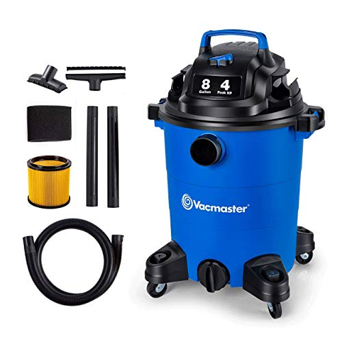 Vacmaster 4 Peak HP 8 Gallon Wet Dry Vacuum Cleaner Lightweight Powerful Suction Shop Vacs with Blower Function for Dog Hair,Garage,Car,Home & Workshop