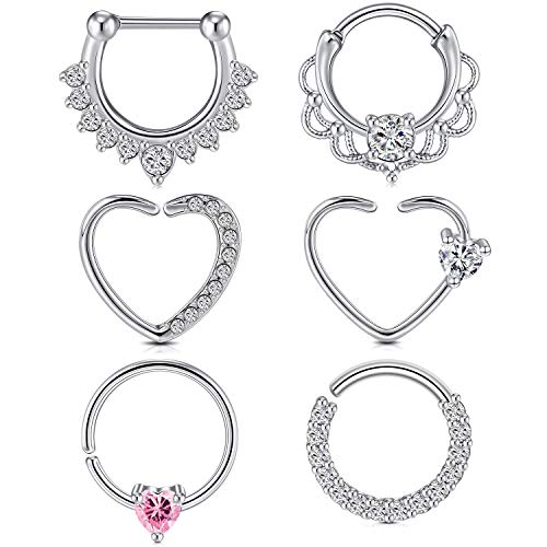 Longita Heart Daith Earrings Right Left Ear 16g 18g Surgical Stainless Steel Tragus Helix Cartilage Piercing Jewelry Clicker Earring Hoop Silver Rose Gold 8mm 10mm