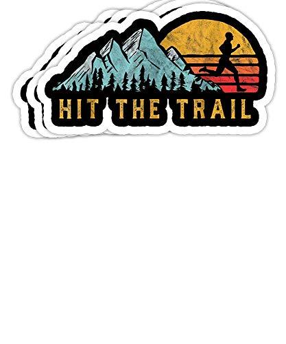 Hit The Trail, Runner – Retro Style Vintage Running Regalo Decoraciones – 4 x 3 pegatinas de vinilo calcomanías para portátil, botella de agua calcomanía (juego de 3)