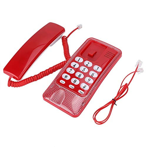 Plyisty Teléfono Fijo con Cable sin Pantalla, Mini teléfono de Escritorio fácil con memorias directas Función Ideal/Mute/Flash/Replay para Montaje en Pared, Oficina, hogar(Rojo)