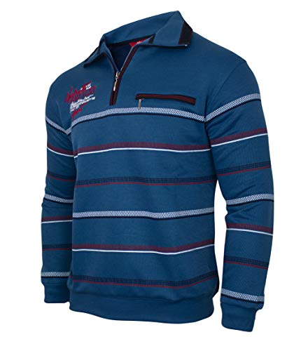 Soltice Herren Poloshirt Langarm, Sweatshirt, Polohemd, Blousonshirts mit Kragen - Grösse M bis 3XL (XL, Blau [D3])