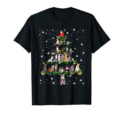 Funny Cats Christmas Tree Tee Ornament Decor Gift T-Shirt
