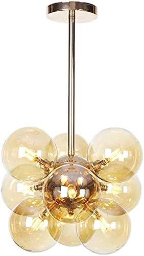 FANLIU Burbuja LED pendiente de la luz nórdica moderna Bola de cristal de la lámpara 9-luz G4 casi al ras de montaje en techo Light Bar Cafetería Restaurante Mesa de comedor Lámpara colgante decoració