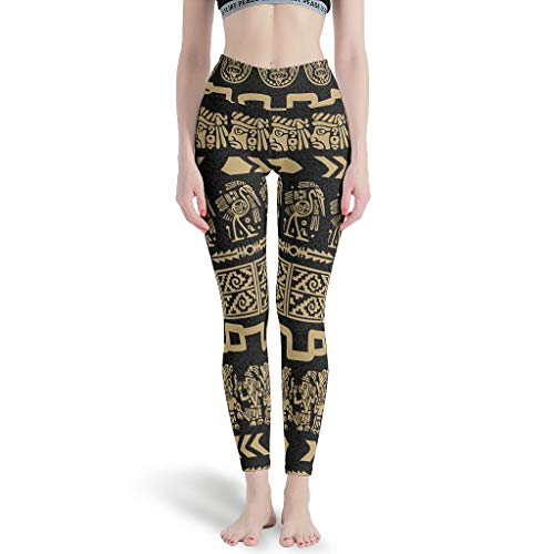 LPLoveYogaShop Damen Leggings Ethnisch Ägypten Indien Maya Folklore Grafik Glatt Yogahosen Capri-Gamaschen für Training white11 2XL