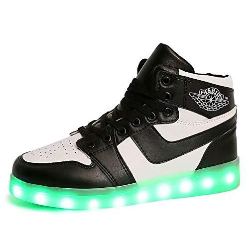 Temptation at dusk zy Leuchte Schuhe,LED Schuhe 7 Farbe USB Auflade Leuchtend Sportschuhe LED Sneaker Turnschuhe Unisex Energy Lights Ausbilder High-Top Licht Blinkt Sneaker Mit(33-44) Black-39