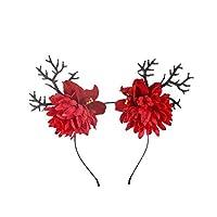 YAZILINDブライダルヘアアクセサリーフラワーリースガーランドウサギ耳カチューシャシーサイドバケーションコスチューム帽子赤