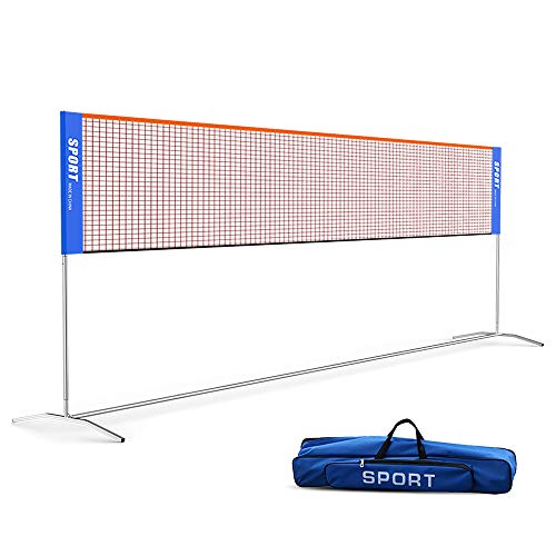 Ulalov Badminton Net Set, 17ft Portable Badminton Net, Adjustable Height for Volleyball Soccer Tennis Pickleball Indoor or Outdoor Court, Backyard, Beach, Driveway