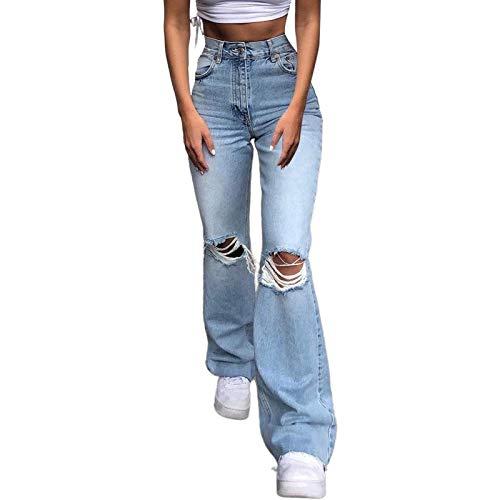 SKYWPOJU Damen Schlaghose Y2K Mode High Waist Bootcut Pant Weite Bein Boyfriend Stretch Skinny Jeans Hosen Vintage Leopard Jeanshose Schlagjeans Streetwear (Color : Light Blue, Size : S)