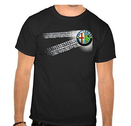 ALFA Romeo - Auto Logo car Schwarze Fun T-Shirt - 600 -SW