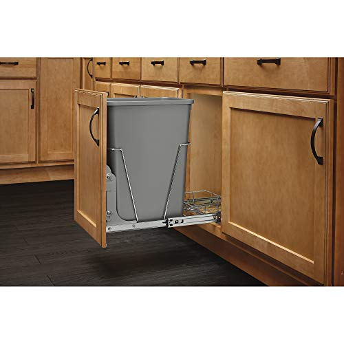Rev-A-Shelf RV-12KD-17C S Single 35 Quart Sliding Pull Out Kitchen Cabinet Waste Bin Container, Gray
