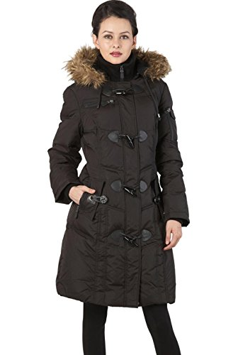 BGSD Women's Waterproof Quilted Down Toggle Coat Black Large