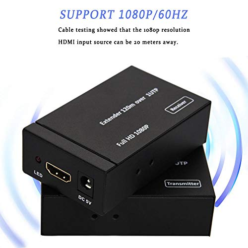 Richer-R HDMI extender 1080P, Full HD HDMI netwerk extender via single CAT5e CAT6 ethernetkabel met zender + ontvanger 120 M, HDMI 1.3 HDCP 1.1 DVI1.1, ondersteunt PC/DVD/laptop/satellietbox