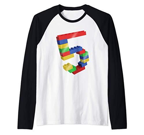 5 Year Old Building Blocks School Bricks - 5th Birthday Gift Camiseta Manga Raglan