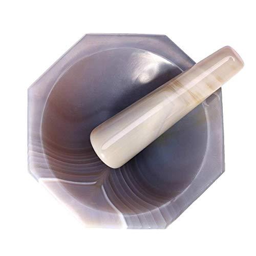 Grinder mortero de ágata natural de la especia Mills Conjunto de mano Condimento Ajo Pimienta Mills Mezcla y Mortero Pot herramienta de la cocina maja (Color: 50 mm) LQH (Color : 50mm)