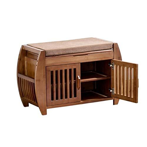 Dabeigouzxiej Organizador Armario, Mueble de Almacenamiento de Zapatos de bambú 100% Natural con Pasillo de 2 Puertas Muebles de Entrada Muebles Organizador de Almacenamiento Gabinete de Entrada