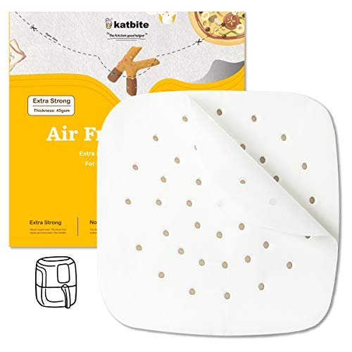 Katbite Heavy Duty Air Fryer Parchment Paper 120 Pcs, 6.5x6.5 Inch Perforated Parchment Paper for Air Fryer, Extra Strong, No Burn, No Free (6.5 Inch Square)