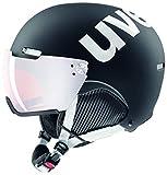 uvex Unisex– Erwachsene, hlmt 500 visor Skihelm, black-white mat, 59-62 cm