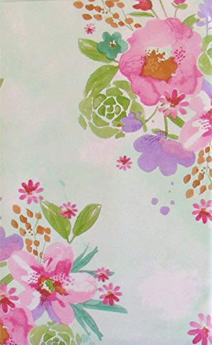 Summer Floral Watercolor Vinyl Flannel Back Tablecloth (60' Round)