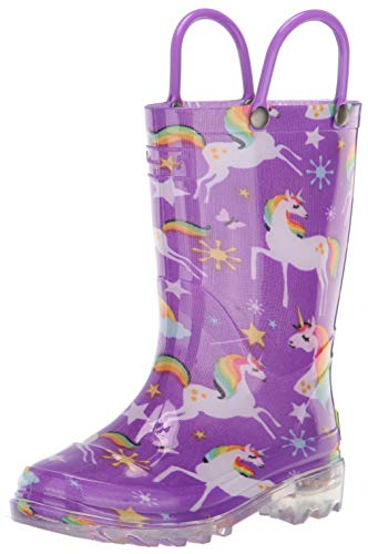Western Chief Girls' Waterproof Rain Boots That Light Up Each Step, Rainbow Unicorn, 13 M US Little Kid