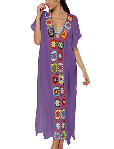 Bsubseach Women Crochet Long Bathing Suit Cover Ups Swimwear Short Sleeve Bikini Swimsuit Beach Kaftan Dress Purple