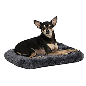 "18L-Inch Gray Dog Bed or Cat Bed w/ Comfortable Bolster | Ideal for ""Toy"" Dog Breeds & Fits an 18-Inch Dog Crate 