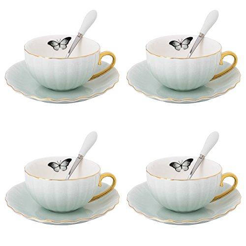 Artvigor, Servicio de café de Porcelana para 4 Personas, 12 Piezas Juego de Tazas de café, 180 ml, Conjuntos de Taza y platillo, Verde Claro + Blanco