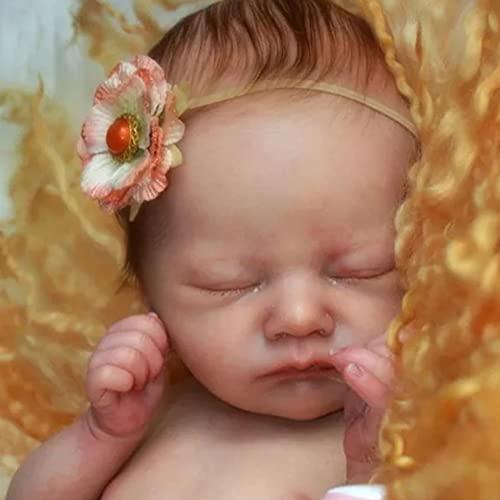 JinYiZhaoMing Reborn Dolls Kit,18 pulgadas, 700G realista recién nacido, muñeca recién nacida enraizada de vinilo suave de silicona para recién nacido
