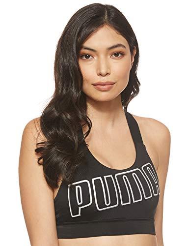 PUMA Damen Sport BH Feel It Bra M, Black/White, L, 518289