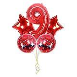 Djujiabh Ballons 5pcs Spiderman Aluminium Film Ballon de fête d'anniversaire décoration 32 Pouces numérique Ballon Set Volant Météo Balle Baby Shower (Color : Red9)