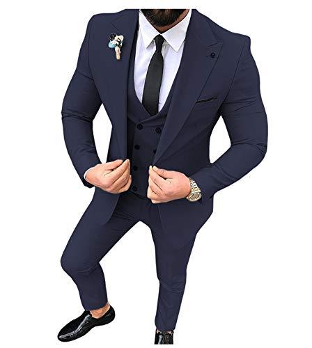 Traje para hombre, 3 piezas, ajustado, solapa sólida, para esmoquin, para boda (lazer+chaleco + pantalones) azul marino 38