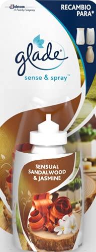 Glade Recambio para Ambientador Automático Sense & Spray con sensor de movimiento, Fragancia Jazmín y sándalo, 1 recambio - 18 ml