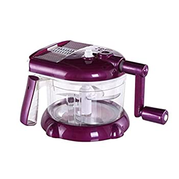 Food Processor Manual Hand-powered Crank Chopper Mincer Blender Mixer Cutter for Baby Kids Toddler to Chop Meat Fruits Vegetables  Purple