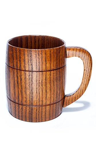 Beer Mug, 350mL Handmade Eco-friendly Wooden Mugs With Handle For Wine/Coffee/Tea, Best Gift Cups For Men/Women