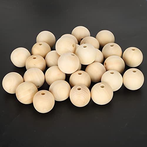 30 Uds 40mm cuentas de madera naturales sin terminar, espaciador redondo juego de guirnaldas de cuentas de madera para hacer manualidades, decoración del hogar