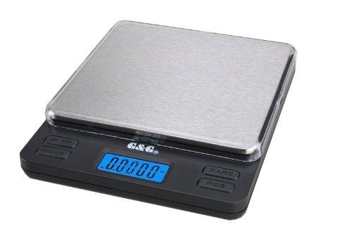 G&G LS 2000g/0,1g Feinwaage Küchenwaage Taschenwaage, Große Wiegefläche, 2 Trays, AAA Batterien