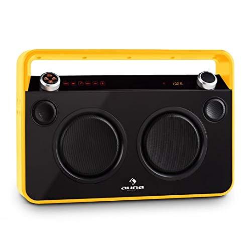 auna - Bebop, Boombox, Ghettoblaster, Bluetooth, kabelloses Musik-Streaming, UKW-Radio,Akku, MP3-fähiger USB-Port, AUX, 2-Wege-Lautsprecher, 2 Mikrofon-Eingänge, schwarz-gelb