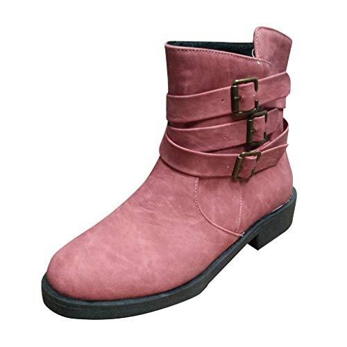 Stiefel Frauen Leder Runde Zehen Komfortable Low-Heels rutschfeste Schuhschnalle Knöchel (42,rot)