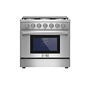 Empava 36 in. 5.2 cu. ft. Pro-Style Slide-In Single Oven Gas Range with 6 Sealed Ultra High-Low Burners-Heavy Duty Continuous Grates in Stainless Steel, 36 Inch