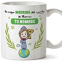 MUGFFINS Taza Madrina (Personalizable con Nombre) - La Mejor Madrina del Mundo - Taza Desayuno Personalizada/Idea Regalo Original/Día de Pascua para Padrinos. Cerámica 350 mL