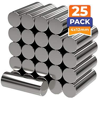 25 x Cilindros magnéticos de neodimio | Imán / Imanes | Diámetro Ø 4 mm, longitud 12 mm | niquelados (NiCuNi) | Fuerza de sujeción (fza. sujec.): aprox. ~ 4 kg | 25 uds. Cilindro magnético