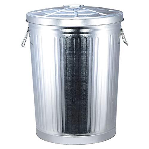 LOMJK Papeleras Cubo de hojalata Retro Contenedor de Basura de Gran Capacidad for Uso al Aire Libre Industrial con contenedor de Almacenamiento de Basura Cubo de Basura, 75L Cubos de Basura