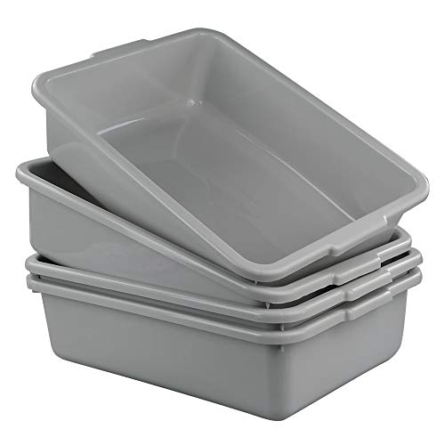 Anbers 13L/Grey Plastic Commercial Bus Box, Wash Tub Basin, 4 Packs